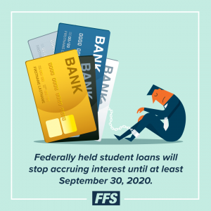 Federally held student loans will stop accruing interest until at least Sept. 30, 2020.