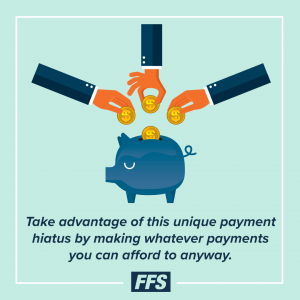 Take advantage of the payment hiatus to pay whatever you can afford now.