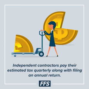 Independent contractors pay their estimated tax quarterly along with filing an annual return.