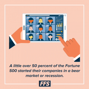 Over 50% of the fortune 500 started in a bear market.